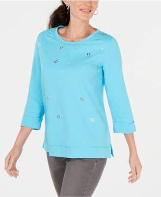 Karen Scott Petite Grommeted Sweatshirt
