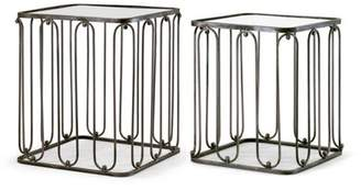 Glamour Home Abana 2-Piece Modern Square Nesting Mirrored Glass Top Metal Frame End Table Set