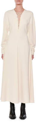 Stella McCartney Lace-Up Long-Sleeve A-Line Maxi Dress