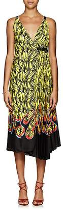 Prada Women's Pleated Banana- & Flame-Print Wrap Dress