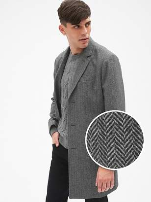 Wool-Blend Herringbone Top Coat