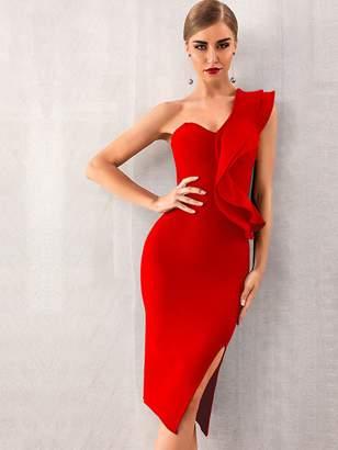 98262f893ad Shein Adyce One Shoulder Exaggerated Ruffle Trim Split Hem Dress