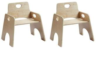 ECR4Kids 8in Stackable Wooden Toddler Chair - Ready-to-Assemble