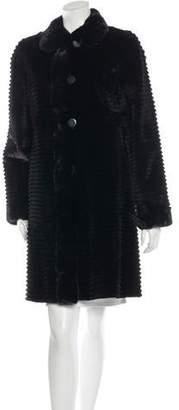 Horizontal Sheared Mink Coat w/ Tags