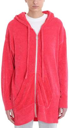 Laneus Pink Chenille Hoodie Sweatshirt