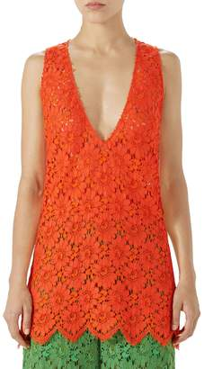 Gucci Sheer Floral Lace Tank