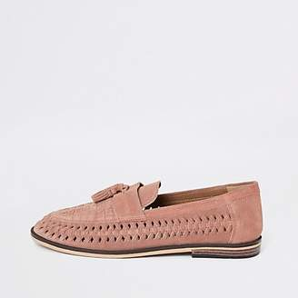 River Island Pink suede woven tassel loafers