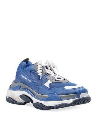 Balenciaga Men's Triple S Mesh & Leather Sneakers, Blue/Gray
