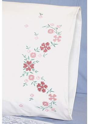 "Fairway Needlecraft Small Flower Stamped Perle Edge Pillowcase Pair, 30"" x 20"""