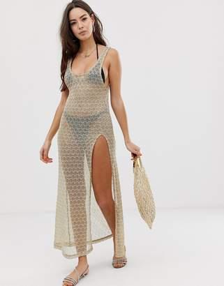 Asos Design DESIGN knitted gold jersey mesh & sequin glam beach maxi dress