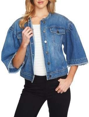 1 STATE 1.STATE Three-Quarter-Sleeve Denim Jacket