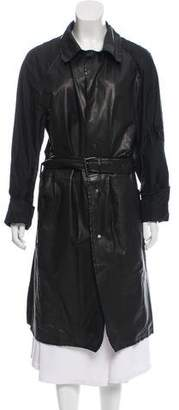 Lanvin Leather Accented Trench Coat