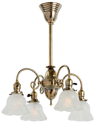 Rejuvenation Four-Light Victorian Chandelier in Aged Brass w/ Etched Shades