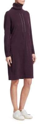 Fabiana Filippi Women's Turtleneck Sweater Dress - Dark Purple - Size 50 (14)