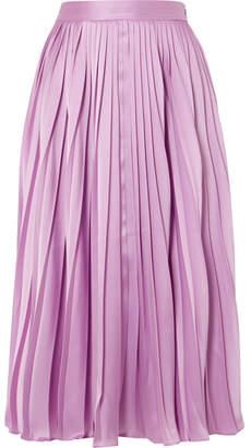 Co Pleated Satin-twill Midi Skirt - Pink