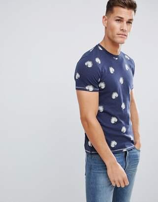 Celio Crew Neck T-Shirt In Cotton Leaf All Over Print