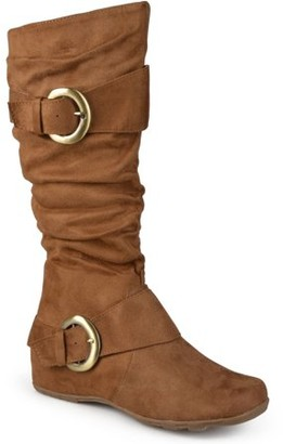 Co Brinley Women's Buckle Accent Slouchy Mid-Calf Boots