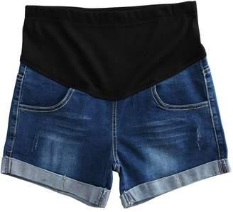 Mesinsefra Women Summer Maternity Denim Shorts 2XL