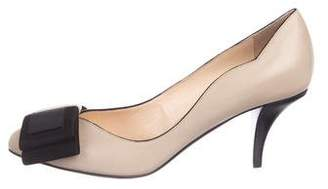 O Jour Leather Bow Pumps