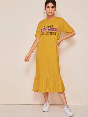 Shein Flounce Hem Graphic Tee Dress