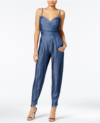 GUESS Pleated Chambray Jumpsuit $128 thestylecure.com