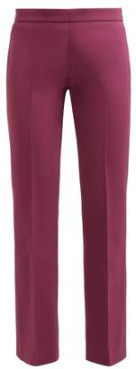 Giambattista Valli Mid Rise Cotton Blend Crepe Trousers - Womens - Burgundy