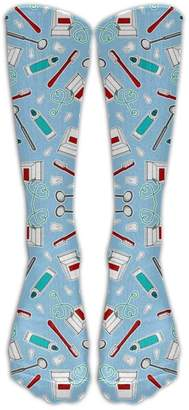 XLarge Long Cute Dentist Dental Hygienist Print Blue Socks Women's Winter Vintage Cotton Wool Knit Long Crew Socks