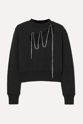 Christopher Kane Squiggle Cropped Crystal-embellished Cotton-jersey Sweatshirt - Black