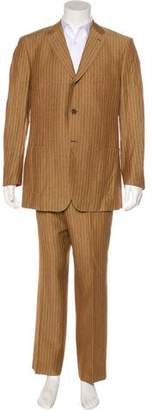 Isaia Striped Linen & Wool Suit