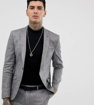 Heart N Dagger skinny fit suit jacket in gray linen mix