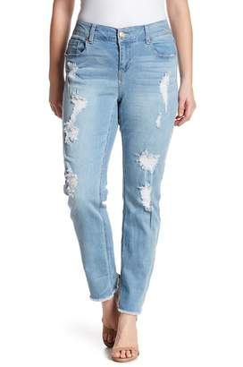 Seven7 Distressed Slim Raw Hem Cuffed Jeans (Concorde) (Plus Size)