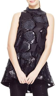 Lela Rose High-Neck Sleeveless Floral-Embroidered Peplum Top