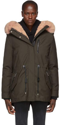 Mackage Khaki Charra Rabbit Fur Down Parka