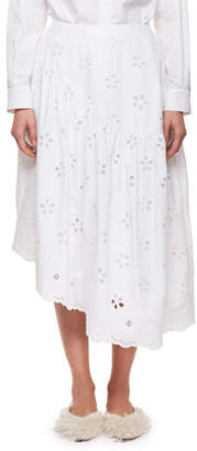 Simone Rocha Asymmetric Broderie Anglaise Midi Skirt