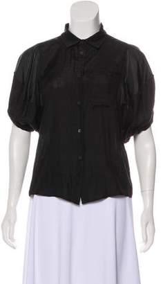 Miu Miu Short Sleeve Jacquard Blouse