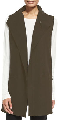Eileen Fisher Icon Boiled Wool Funnel-Neck Long Vest $338 thestylecure.com