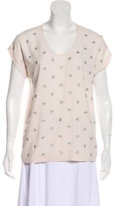 Diane von Furstenberg Embellished-Accent Short Sleeve Top