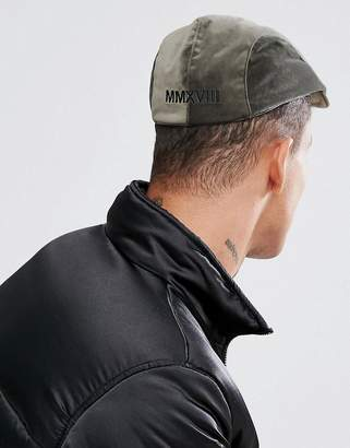 Asos Flat Cap In Khaki Velour With Embroidery