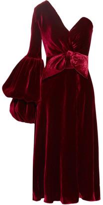 Johanna Ortiz - Sabina One-shoulder Velvet Dress - Claret