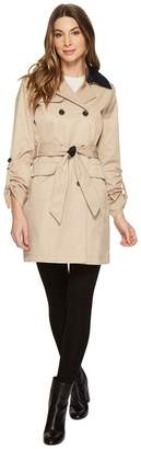 Vince Camuto DB Belted Trench with Contrast Color and Roll Up Sleeves Women's Coat