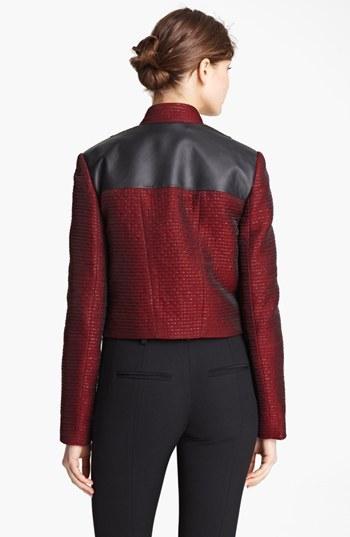 Jason Wu Organza Tweed & Leather Crop Jacket
