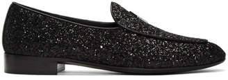Giuseppe Zanotti Black Glitter Loafers