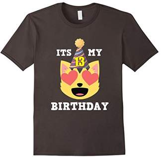 13th Birthday T-Shirt Heart Eyes Cat Emoji Birthday Shirt