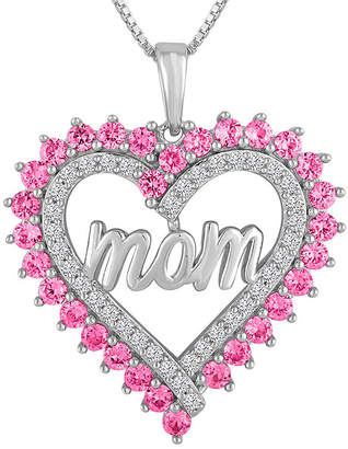 FINE JEWELRY Lab-Created Pink & White Sapphire Sterling Silver Mom Heart Pendant Necklace