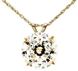 Diamonique 100 Facet 4 ct tw Pendant w/Chain, 1 4K Gold