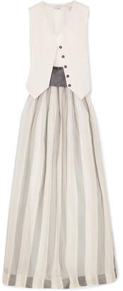 Brunello Cucinelli Belted Striped Herringbone Cotton And Linen-blend, Silk-blend Satin And Organza Maxi Dress - White