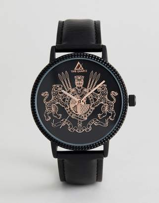 Asos Design DESIGN Watch In Black With Crest And Rose Gold Highlights