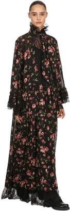 Antonio Marras Rose Printed Long Dress W/ Ruffles
