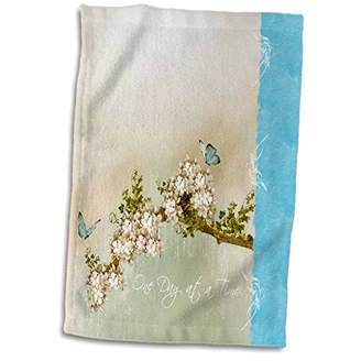 """3D Rose Spiritual One Day at A Time Turquoise Butterflies Towel 15"""" x 22"""""""