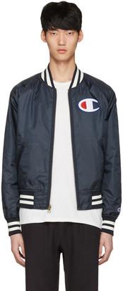 Champion Reverse Weave Reversible Navy Logo Bomber Jacket $190 thestylecure.com